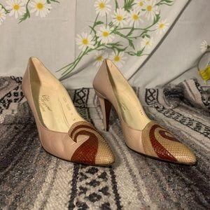 Rosina Ferragamo nude snakeskin toe swirl pumps